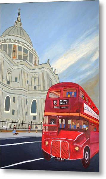 St. Paul Cathedral And London Bus Metal Print