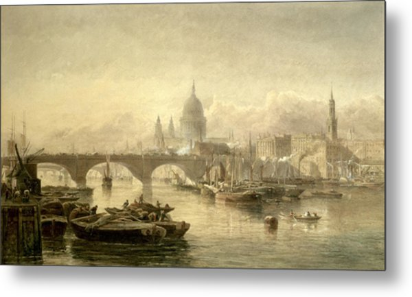 St Paul S Cathedral And London Bridge From The Surrey Side Metal Print