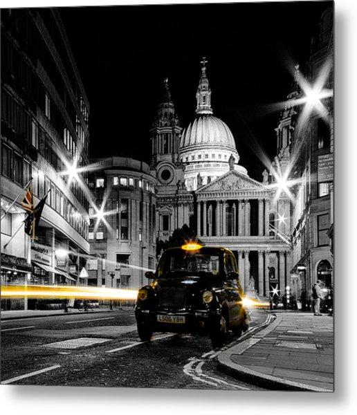 St Pauls With Black Cab Metal Print