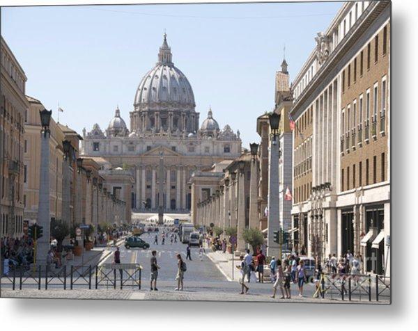 St Peter Basilica Viewed From Via Della Conciliazione. Rome Metal Print