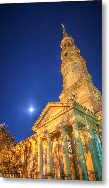 St. Phillip's At Night With Moon And Stars Metal Print