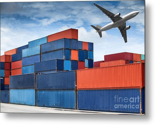 Stack Of Cargo Containers  Metal Print