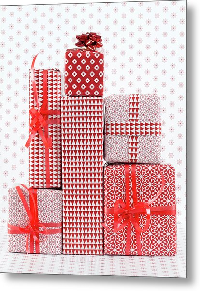 Stack Of Wapped Gifts Metal Print by Muriel De Seze