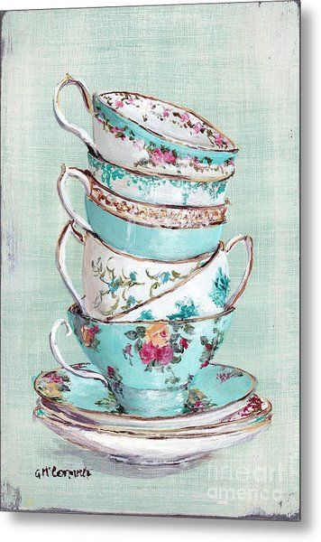 Stacked Aqua Themed Tea Cups Metal Print