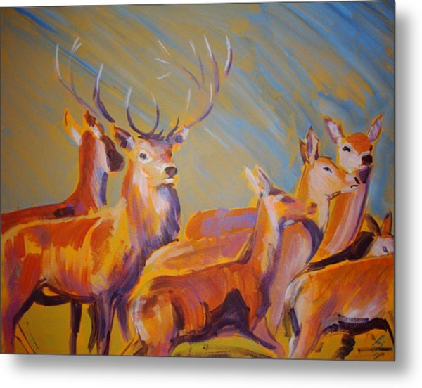 Stag And Deer Painting Metal Print