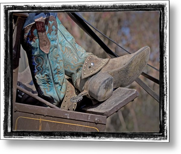 Stagecoach Cowboy's Boots Metal Print