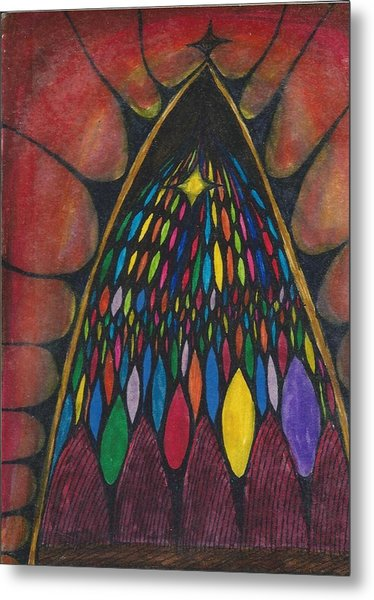 Stain Glass Window Drawing Metal Print by Cim Paddock