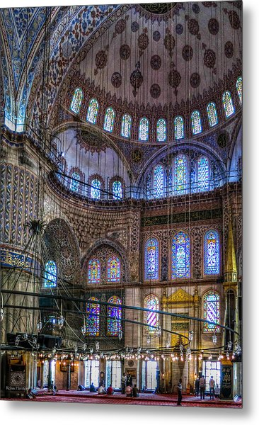 Stained Glass And Dome Of The Sultanahmet Mosque Metal Print