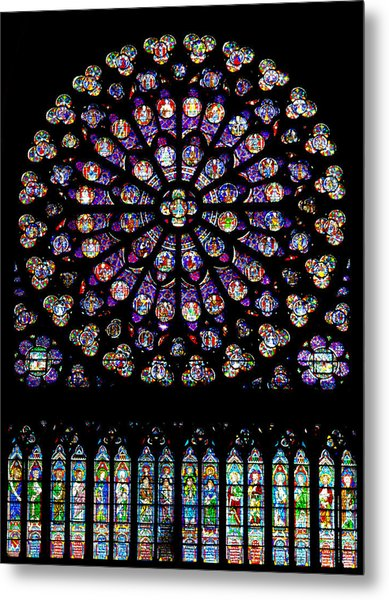 Stained Glass At Notre Dame Metal Print