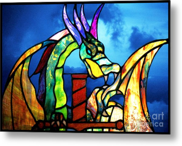 Stained Glass Dragon Metal Print