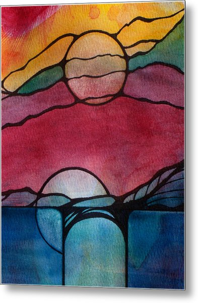 Stained Glass Moonrise Metal Print
