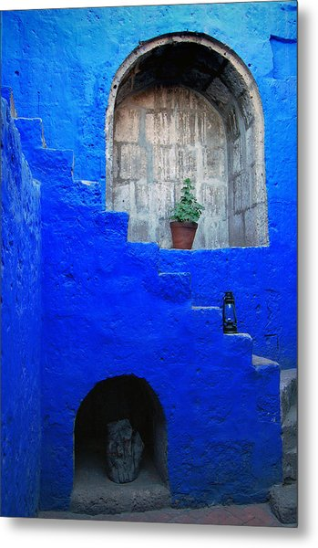 Staircase In Blue Courtyard Metal Print