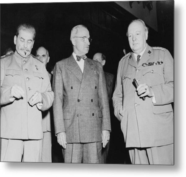 Stalin Truman And Churchill  Metal Print