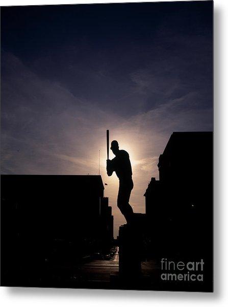 Stan Musial Statue Silhouette  Metal Print