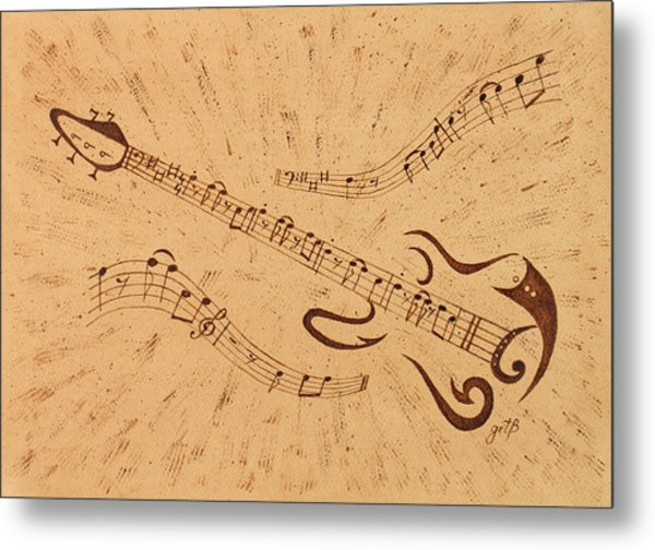 Stand By Me Guitar Notes Original Coffee Painting Metal Print