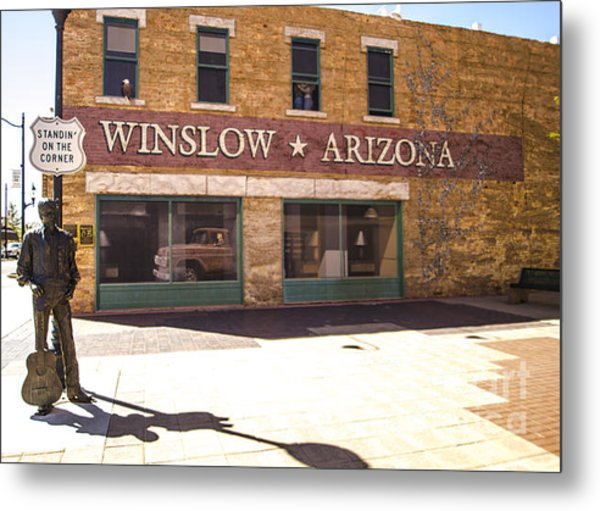 Standin On The Corner In Winslow Arizona Metal Print