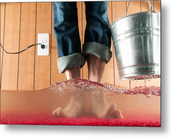 Standing In Flooded Basement Metal Print by PM Images