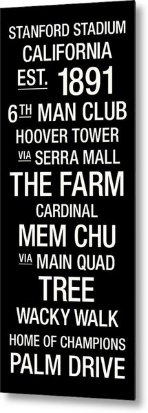 Stanford College Town Wall Art Metal Print