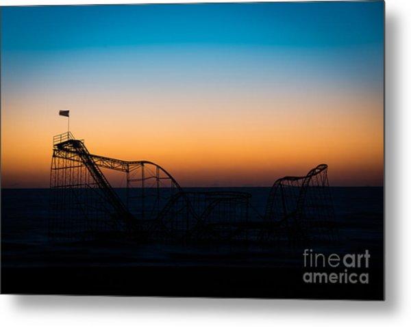 Star Jet Roller Coaster Silhouette  Metal Print