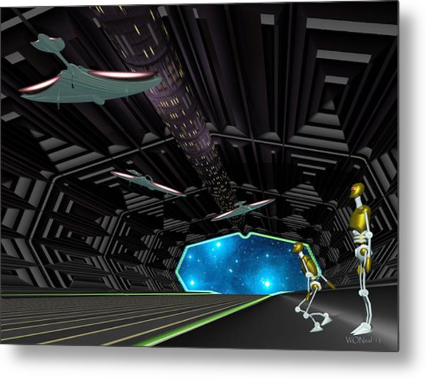 Star Ship Chamber Landing Metal Print by Walter Oliver Neal