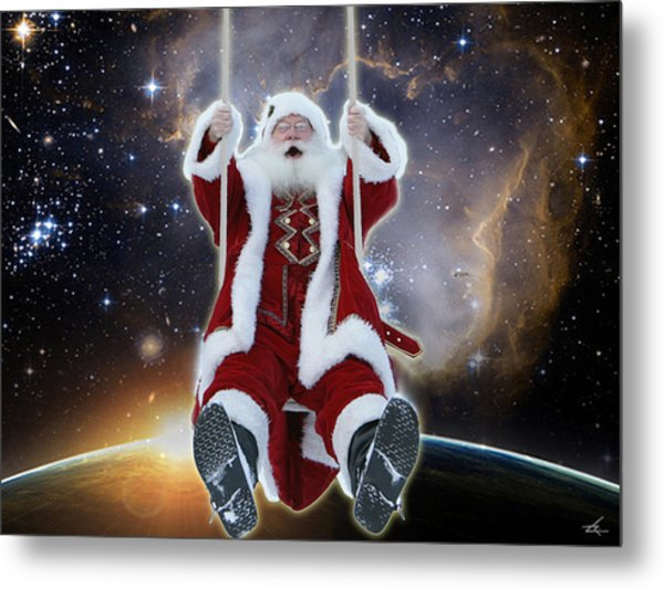Santa's Star Swing Metal Print
