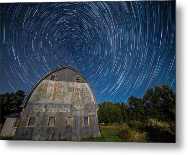 Star Trails Over Barn Metal Print