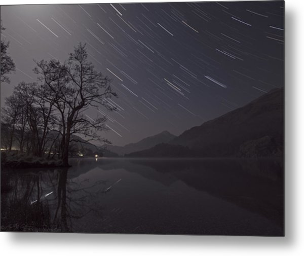 Star Trails Over Lake Metal Print