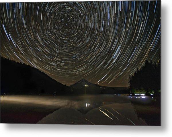 Star Trails Over Mount Hood At Trillium Lake Metal Print