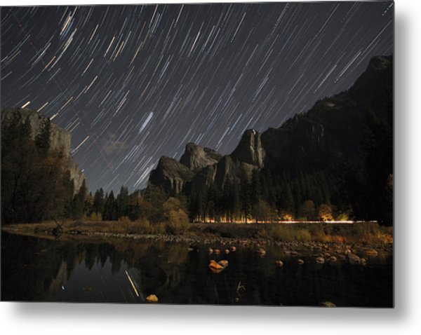Star Trails Over Yosemite Metal Print