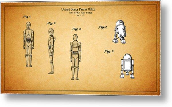 Star Wars - C3po And R2d2 Patent Metal Print