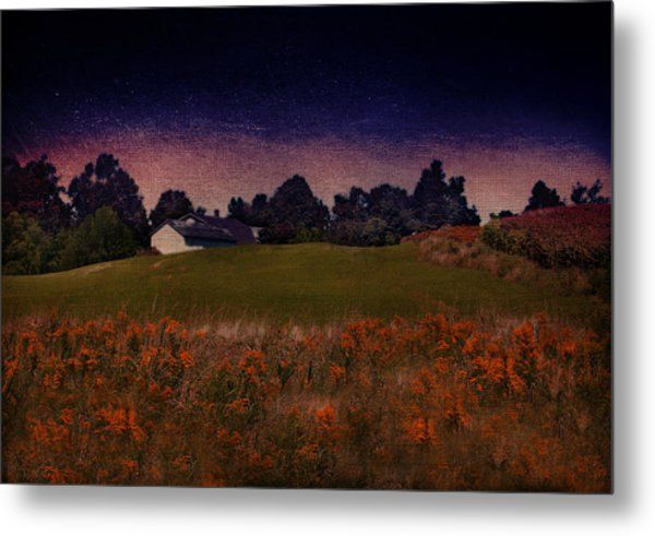 Starry Indigo Blue Twilight In The Country  Metal Print