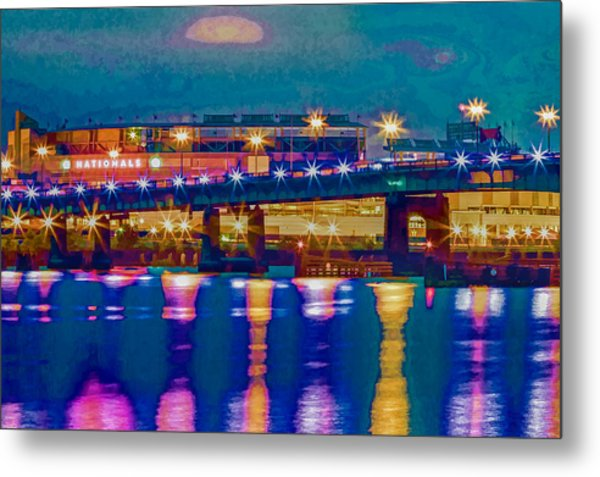Starry Night At Nationals Park Metal Print