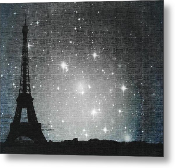 Starry Night In Paris - Eiffel Tower Photography  Metal Print