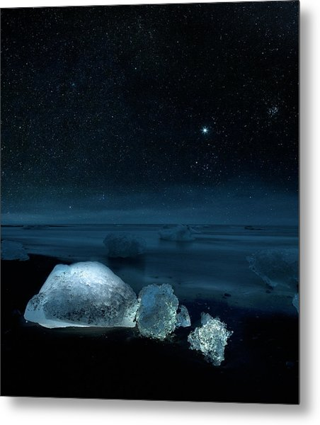 Starry Night Over Ice On Black Sand Metal Print by Arctic-images