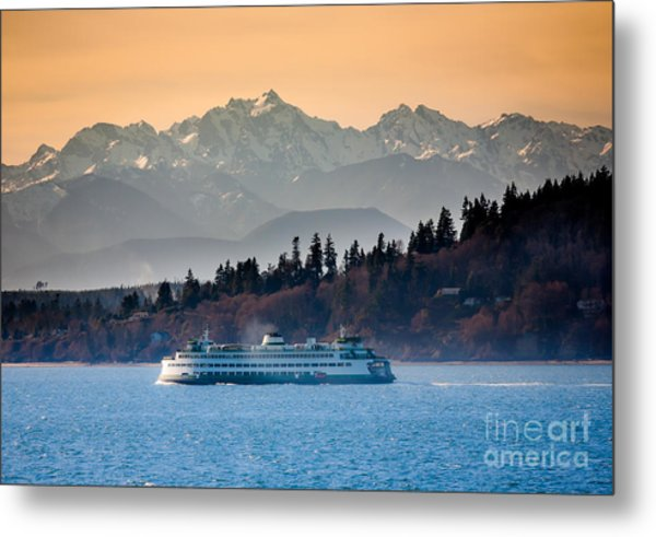 State Ferry And The Olympics Metal Print