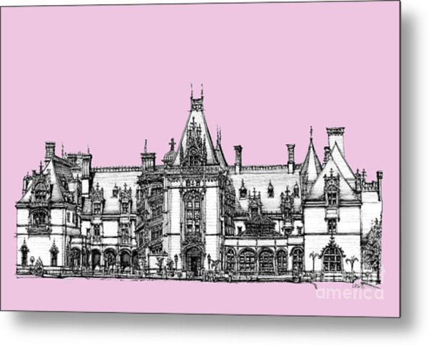 Stately Home In Pink Metal Print