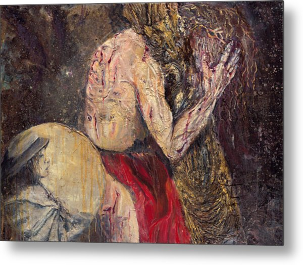 Station II Jesus Receives The Cross Metal Print