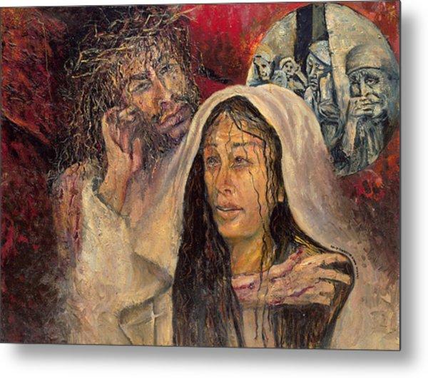 Station Iv Jesus Meets His Mother Metal Print