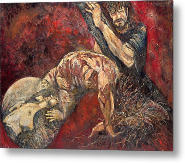 Station V Simon Of Cyrene Helps Jesus Carry His Cross Metal Print by Patricia Trudeau