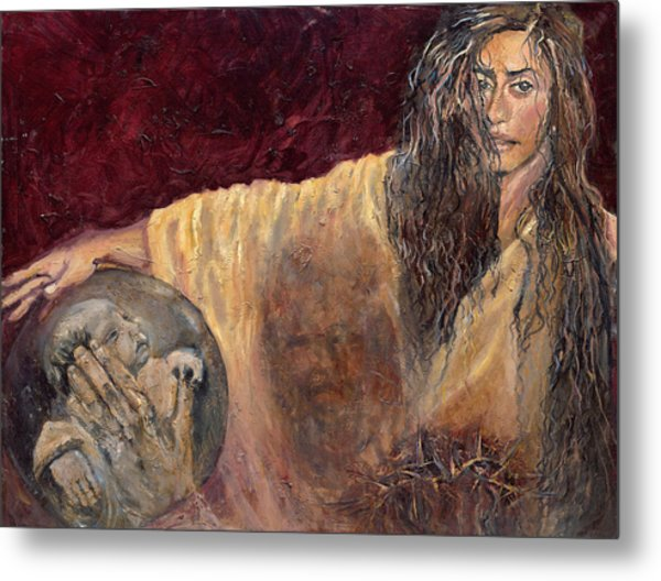 Station Vi Veronica Wipes The Face Of Jesus Metal Print by Patricia Trudeau