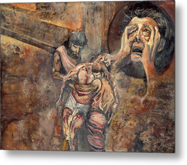 Station Xiii The Body Of Jesus Is Taken Down From The Cross Metal Print by Patricia Trudeau