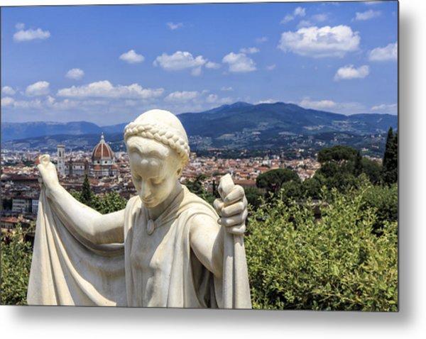 Statue At San Miniato Al Monte Metal Print by Rick Starbuck