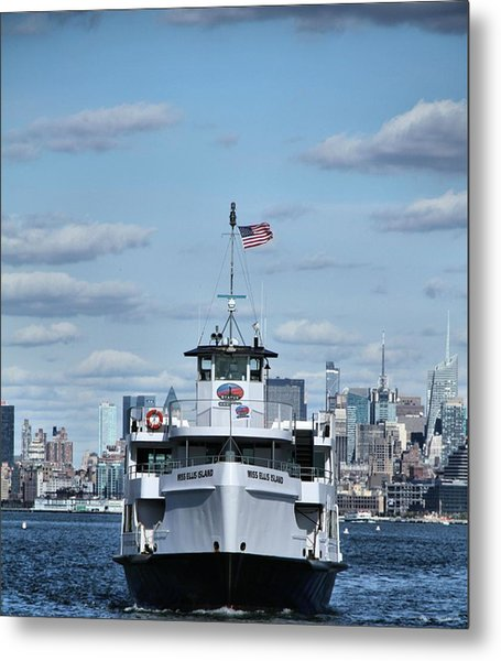 Statue Of Liberty Ferry Metal Print