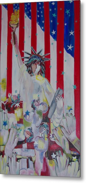 Statue Of Liberty/ Reaching For Freedom Metal Print