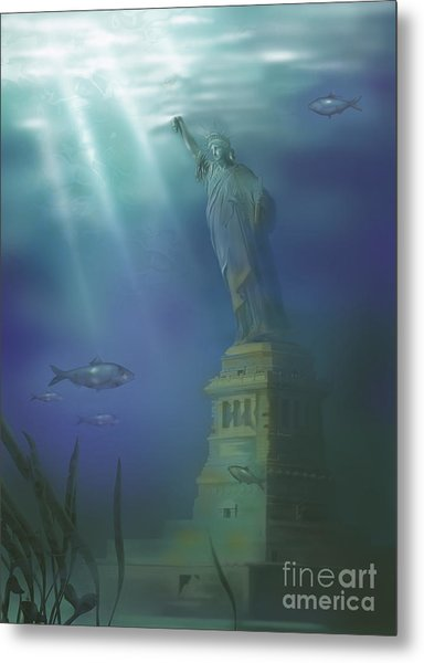Statue Of Liberty Under Water Metal Print