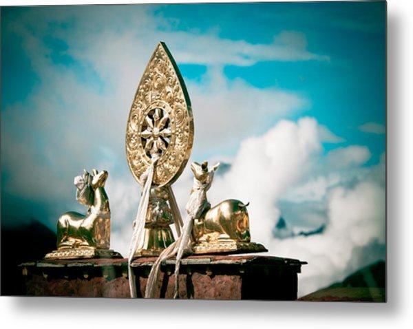Stautes Of Deer And Golden Dharma Wheel Metal Print
