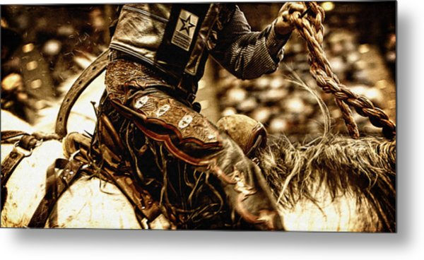 Staying In The Saddle Metal Print by Lincoln Rogers