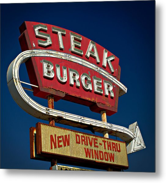 Steak Burger Metal Print