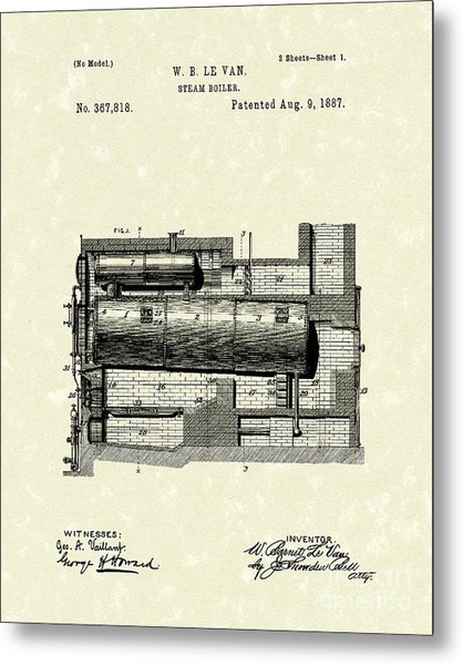 Steam Boiler 1887 Patent Art Metal Print