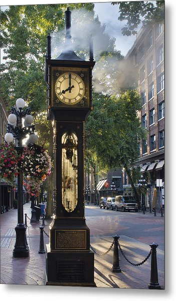 Steam Clock At Gastown Vancouver In The Morning Metal Print